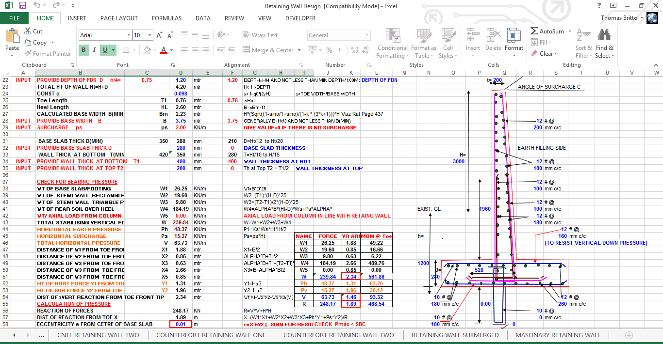 Concrete Retaining Wall Design Spreadsheet : Rcc retaining wall cantilevertype excel sheet