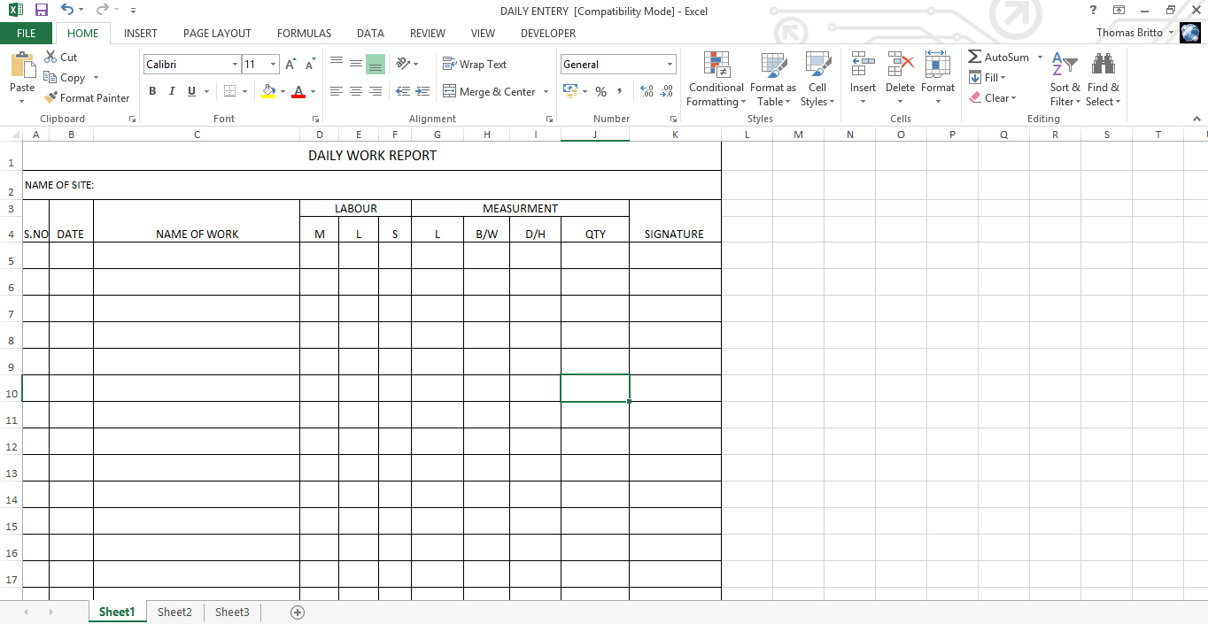 daily work report Daily work report Excel Sheet