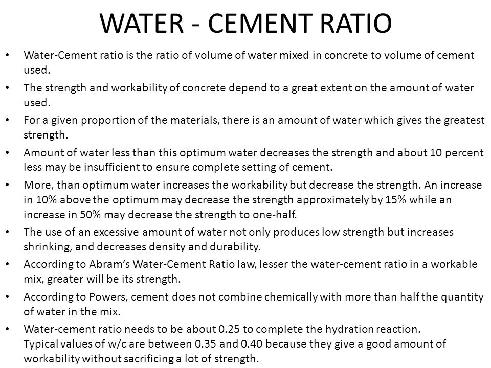 Water Cement Ratio For Concrete Mix Design : Water cement ratio
