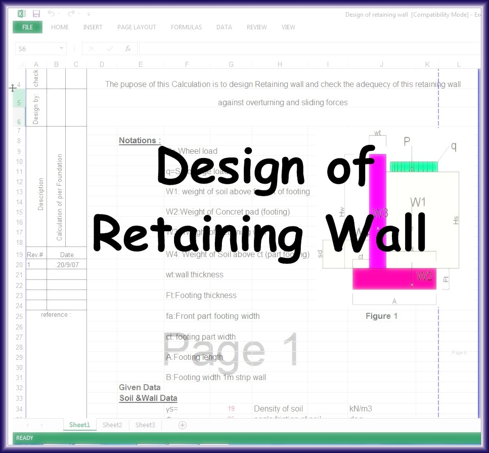 Retaining Wall Design Calculations Xls : Design of retaining wall excel sheet