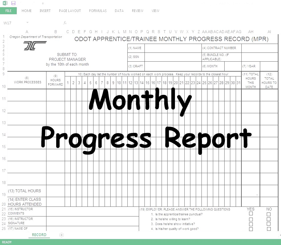 Monthly Progress Report(MPR) Spreadsheet - Online Civil